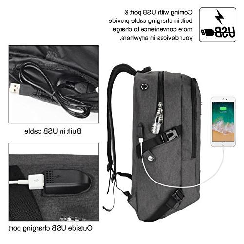 Laptop Backpack, WENFENG Business Computer Charging Water Resistant School 17 Inch