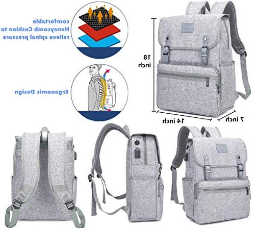 Laptop Men Women Business Travel Computer Backpack School Bookbag Water Resistant Vintage Backpack with USB Fashion Grey Fits Laptop