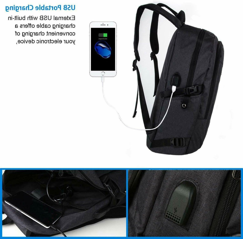 Mancro Backpack Resistant USB Port Black