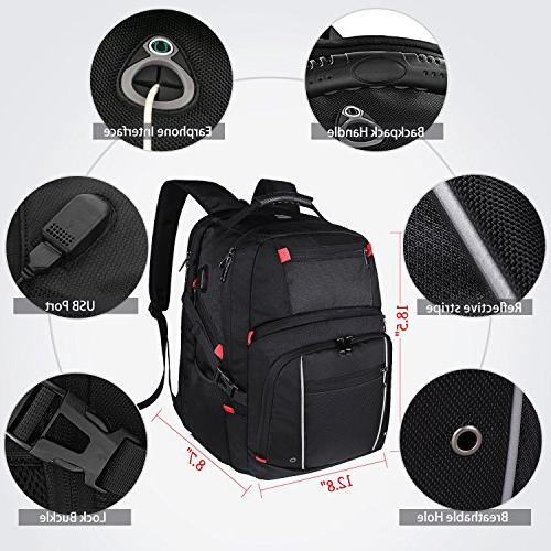 Laptop Waterproof Travel College Students Backpacks Charging Cable for Men Black