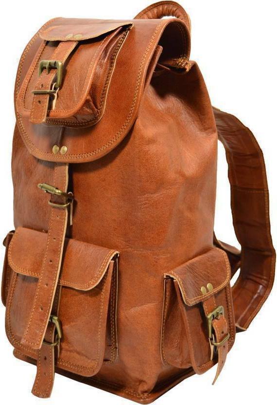 Leather Bag Backpack Men Travel Rucksack Laptop School Satch