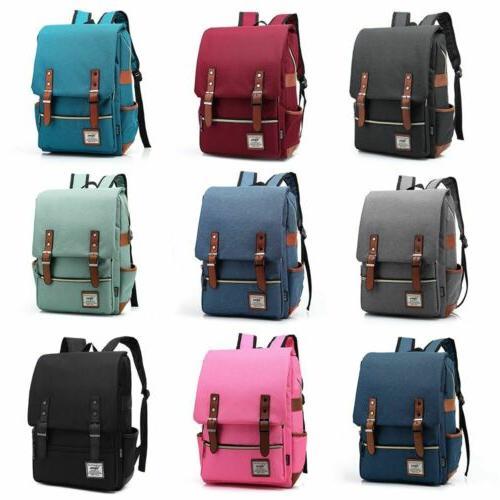 leather canvas backpack men women laptop bag