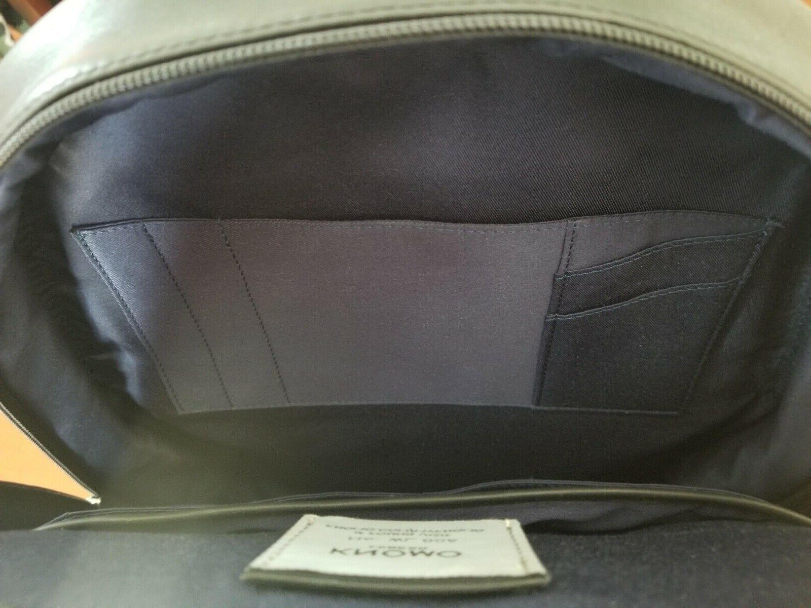 """KNOMO LONDON Grain Black Leather Backpack 15"""" New Tags"""