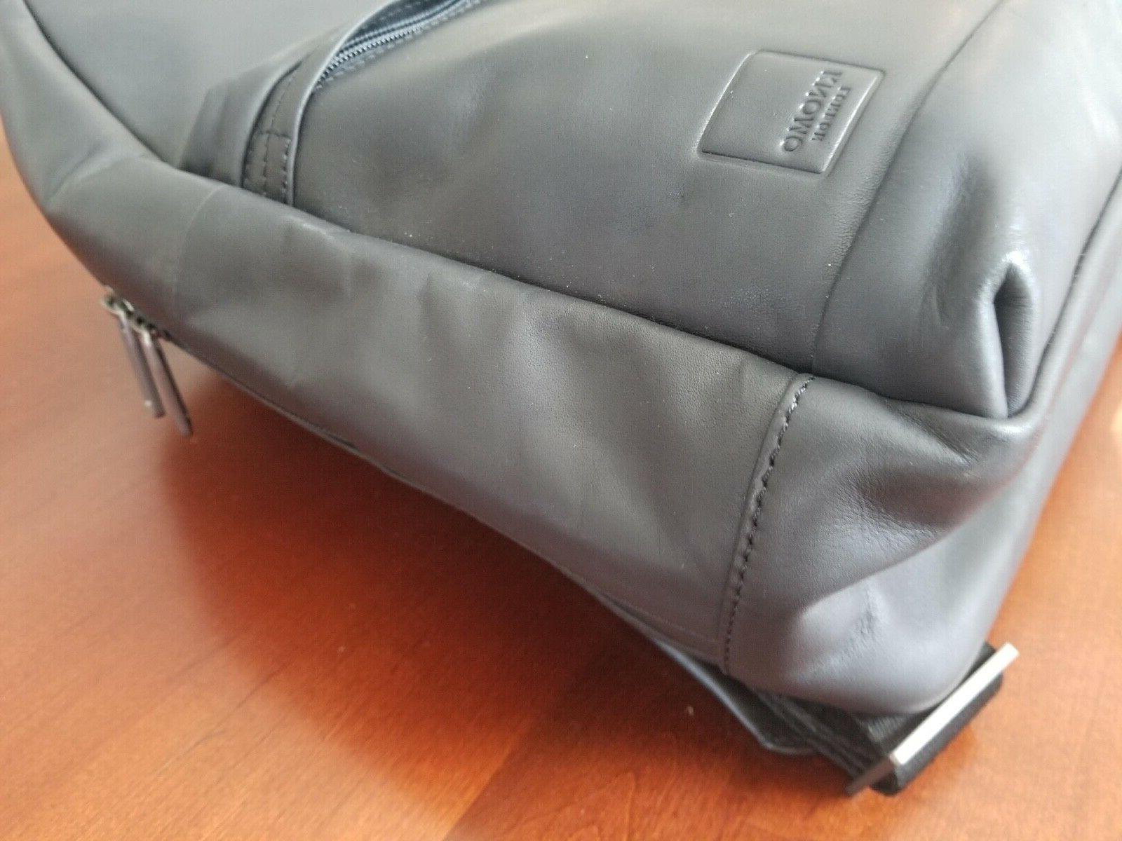"""KNOMO """"Albion' Full Grain Black Leather Laptop Backpack New Tags"""