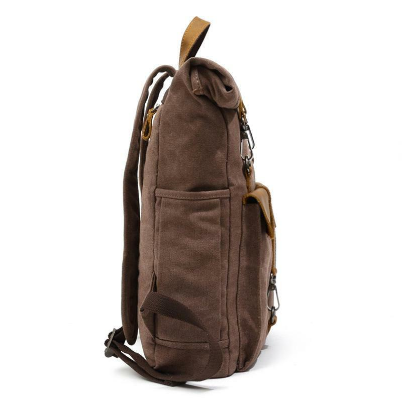 Manhattan Style Canvas Leather Backpack,