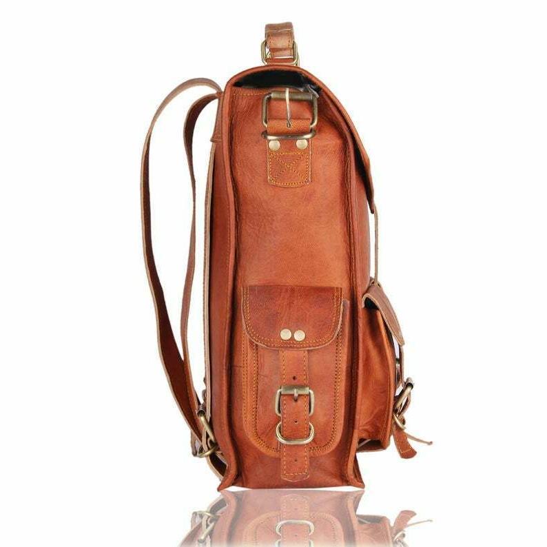 Men Women Leather Backpack Laptop Messenger Bag