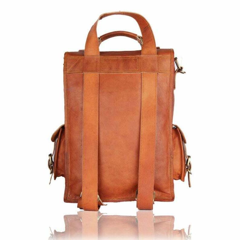 Men & Women Leather Backpack Laptop Messenger Bag Bag