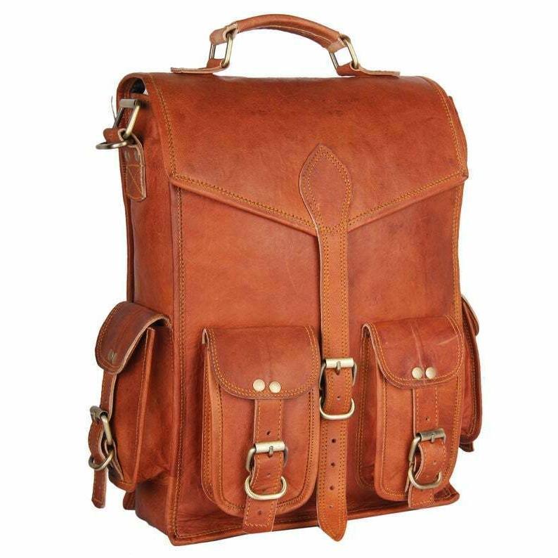 Men & Women Leather Backpack & Messenger Rucksack Bag
