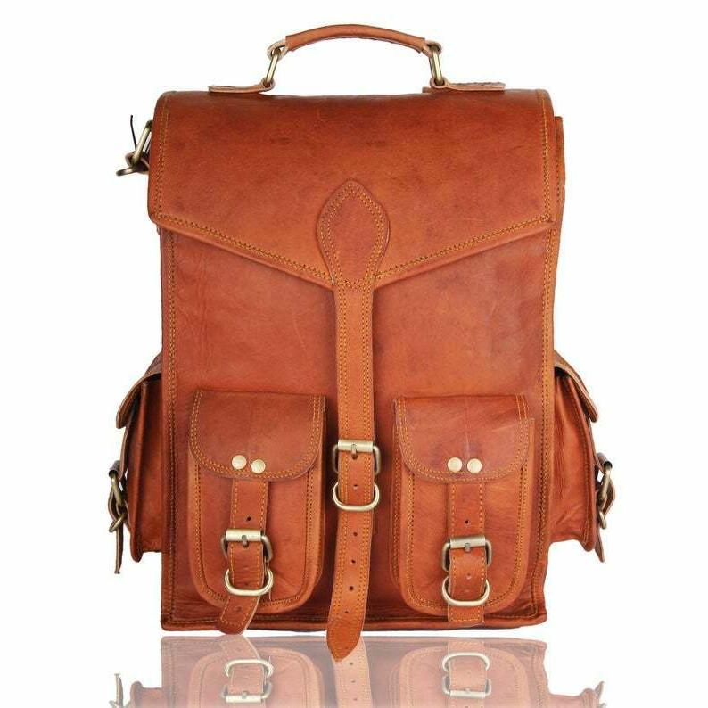 men and women brown leather backpack