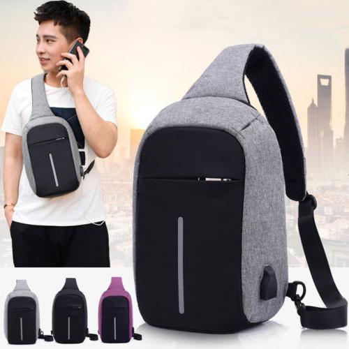Mens Anti Theft Laptop Book Bag Bag USB Charge Port