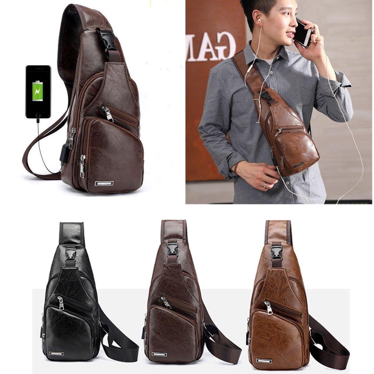 Mens Anti Theft Laptop Bag USB Charge Port