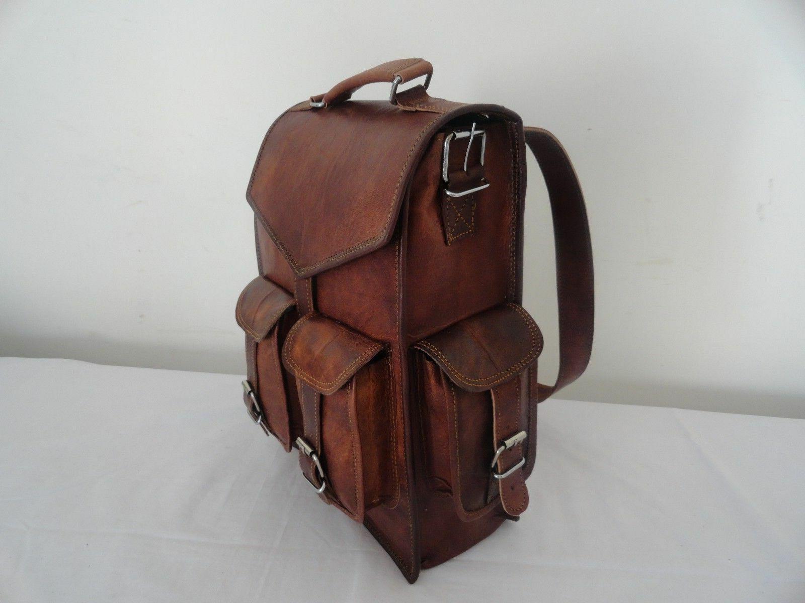 Men's Genuine Leather Large Backpack Hiking Laptop Messenger
