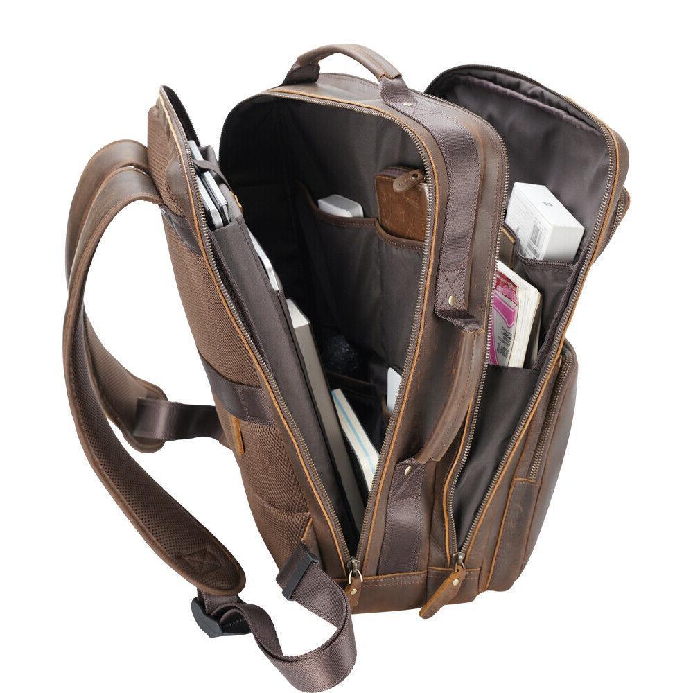 """Men Leather Backpack 17"""" Shoulder Bag Bag"""