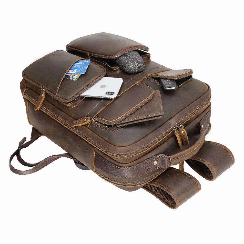 Men Leather Laptop Shoulder Bag School