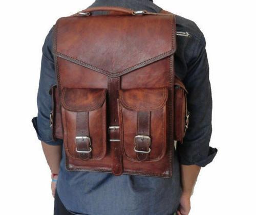 men leather laptop backpack shoulder messenger bag