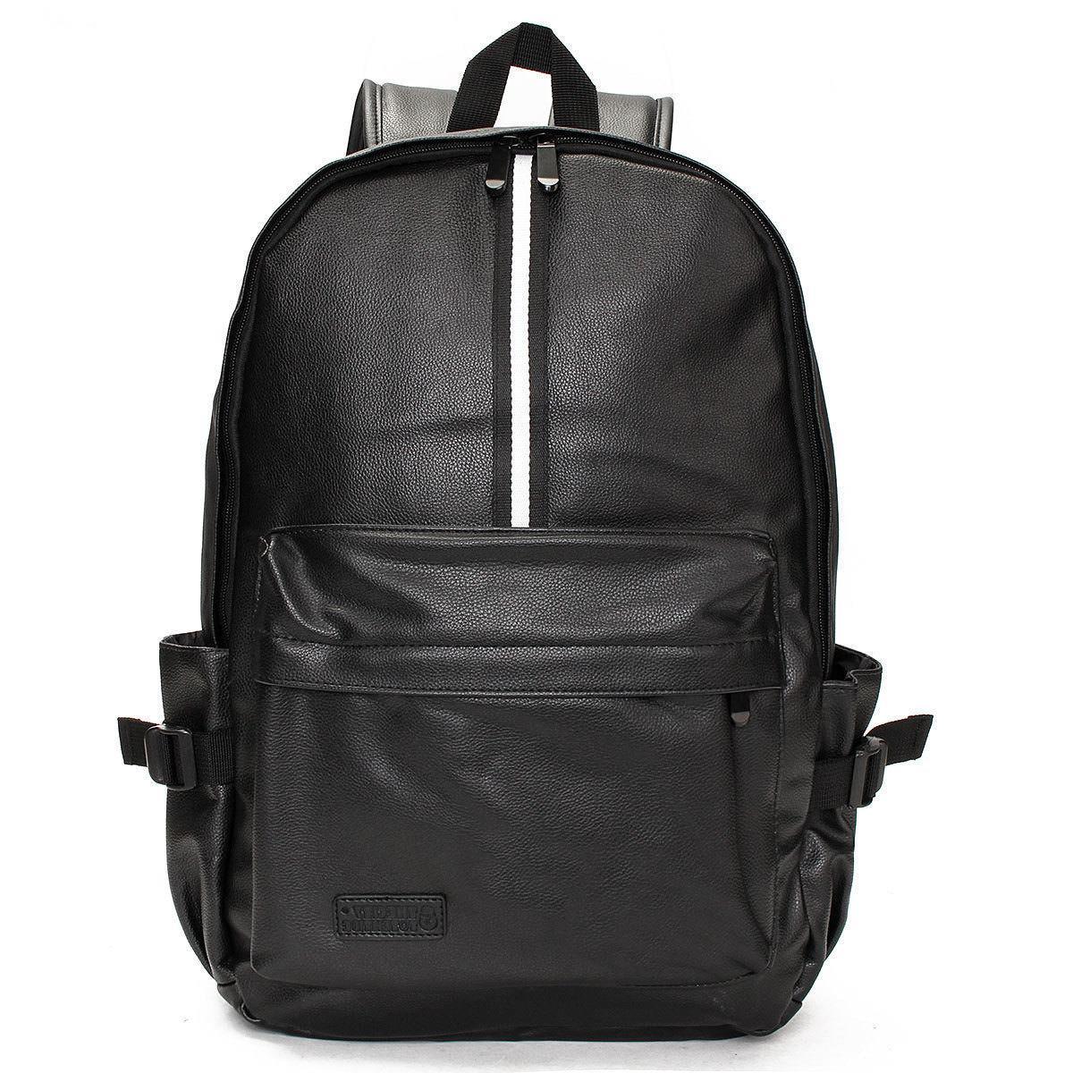 Men Leather Travel Rucksack Camping Satchel Shoulder School Bag