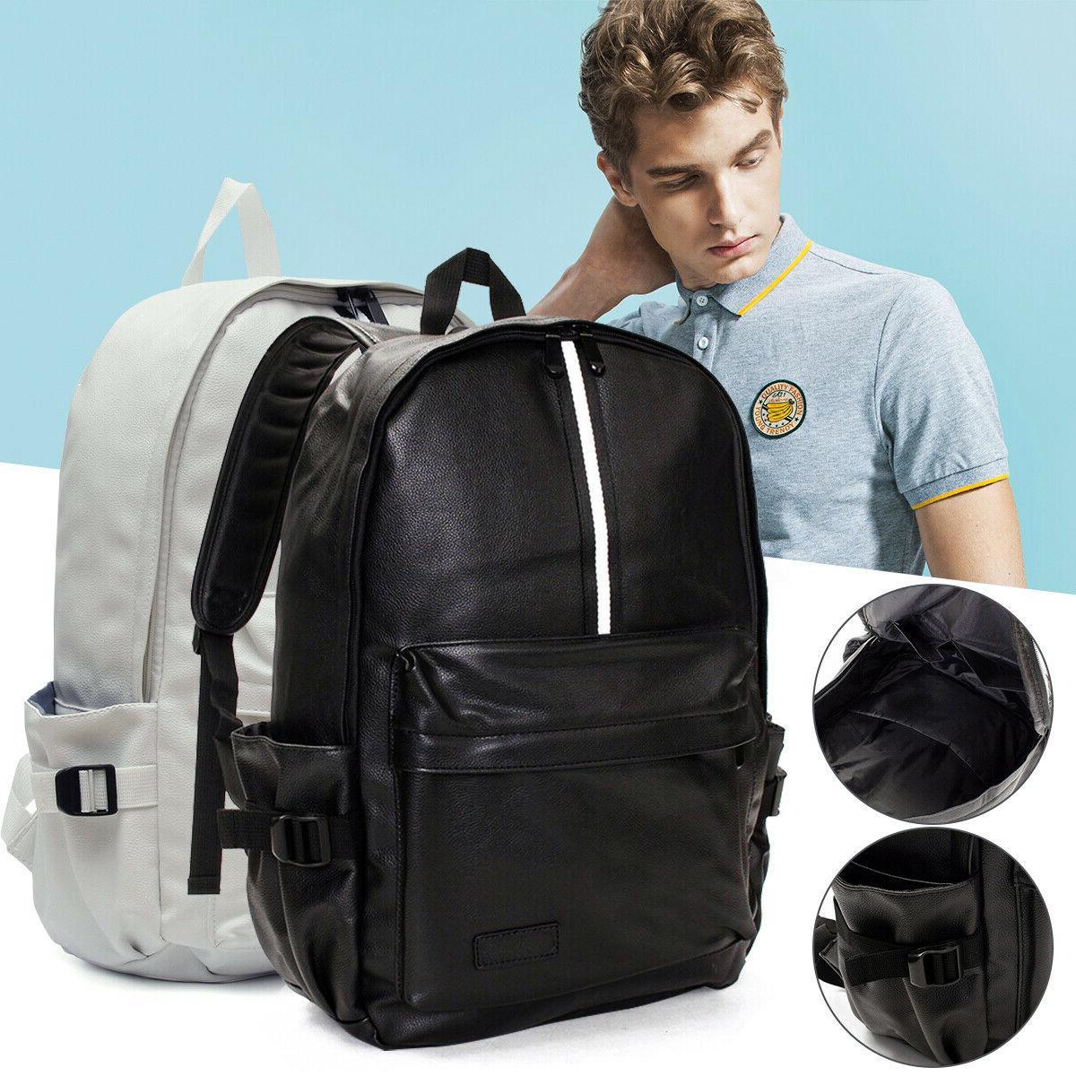 men leather travel rucksack camping satchel shoulder