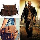 "Men's Military Canvas Leather Satchel School 14"" Laptop Shou"