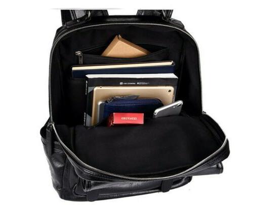 Men's Leather Backpack Shoulder Bag School Bags Daypack