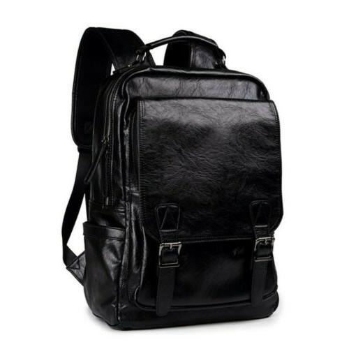 Men's Leather Shoulder Backpack Travel College Laptop Bag Da