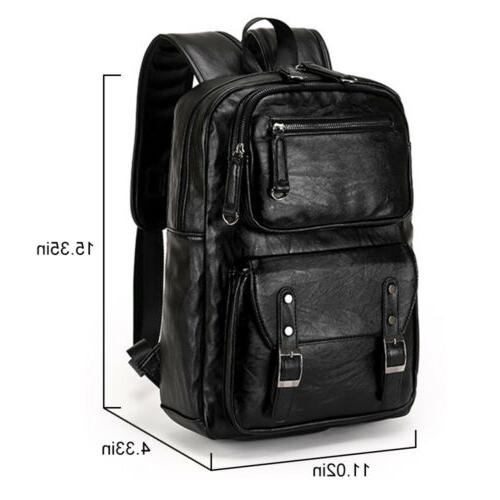 Men's Leather Weekender Travel Bag Shoulder School Rucksack