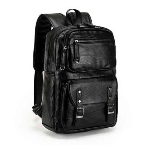 men s leather laptop backpack weekender travel