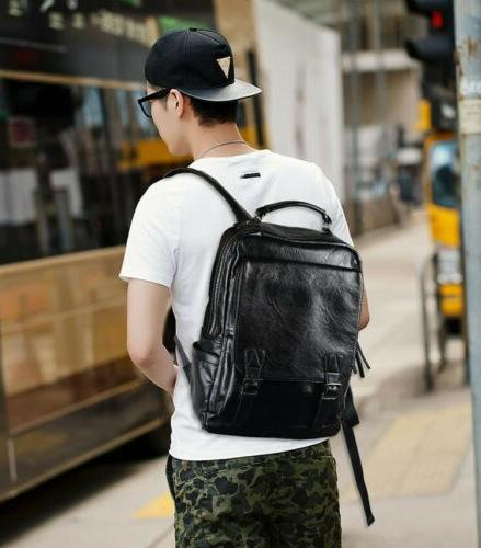 Men's Leather Backpack Travel College Laptop Daypack