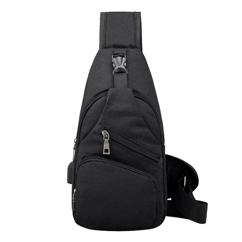 Men's Bag Chest Pack Canvas Charging Sports Crossbody