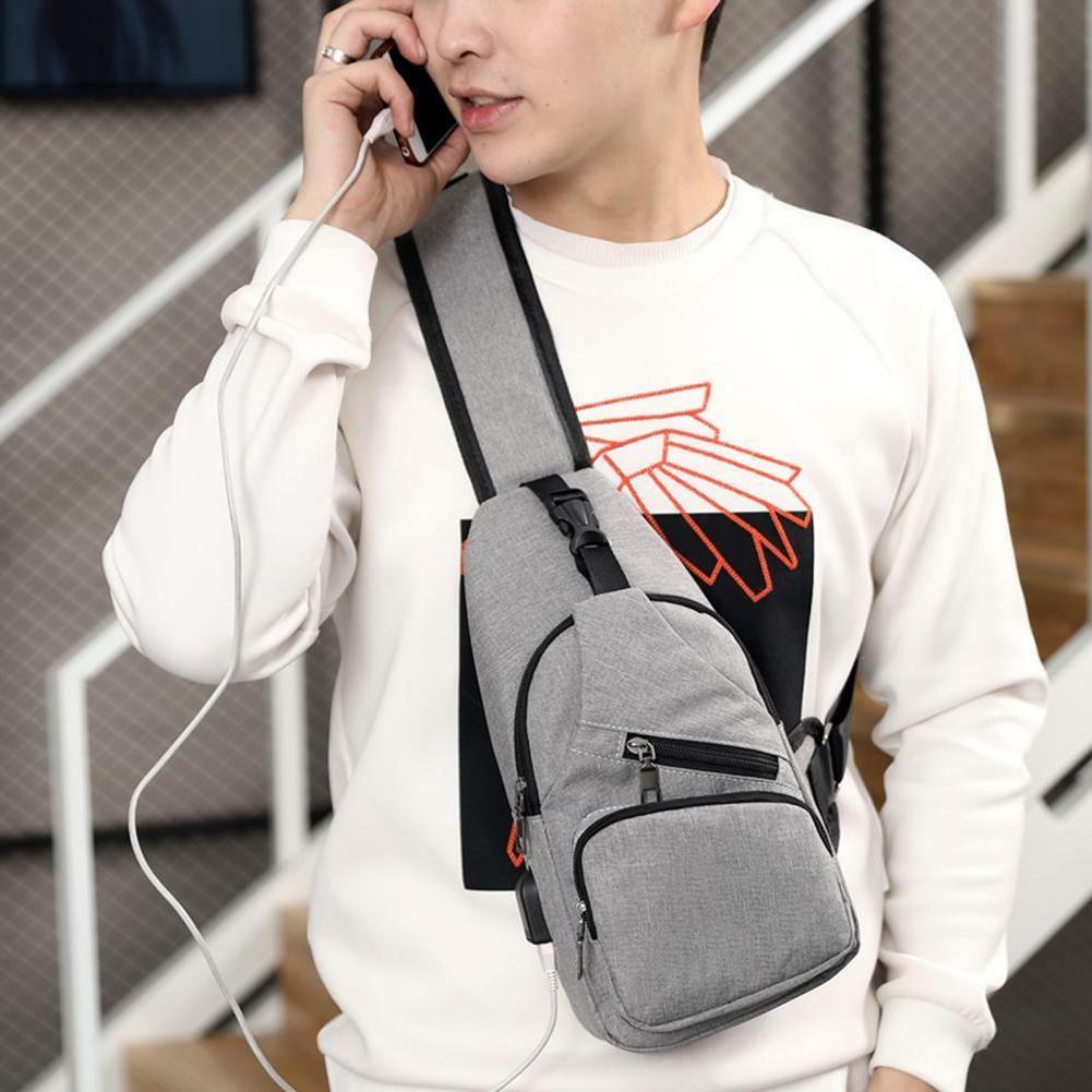 Men's Chest USB Charging Crossbody Handbag