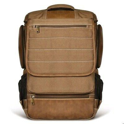 Men's Canvas Backpack Rucksack Bag Laptop Camping Travel Sch