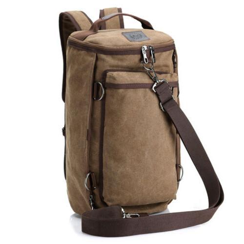 men s vintage canvas backpack rucksack shoulder
