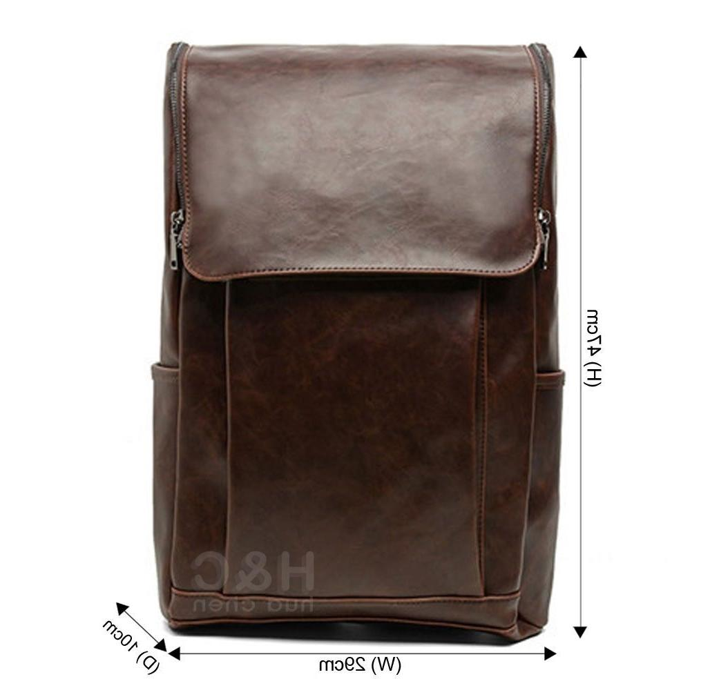 Men's Leather Backpack Laptop Bag Rucksack