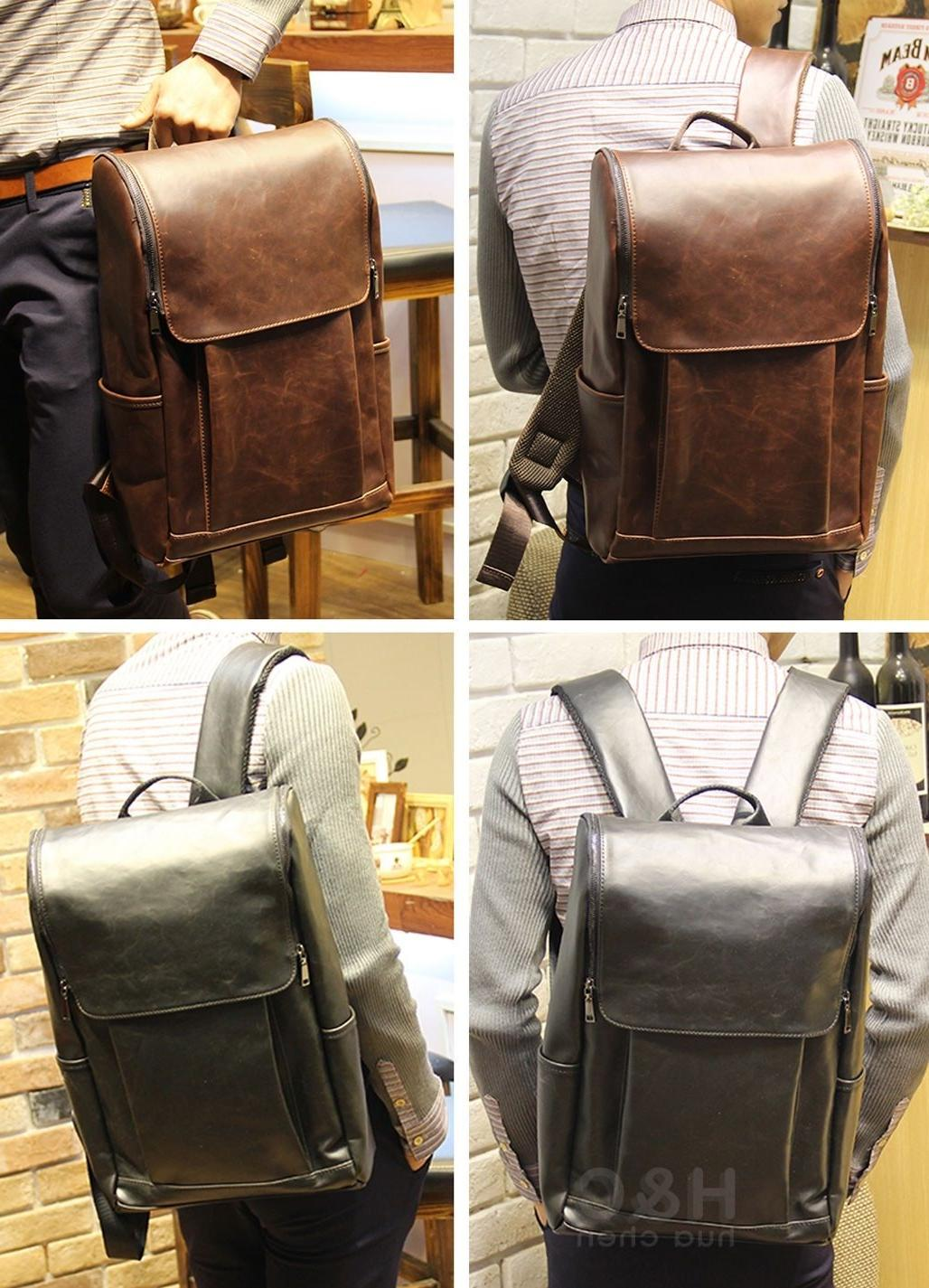 Men's Travel Leather Backpack Laptop