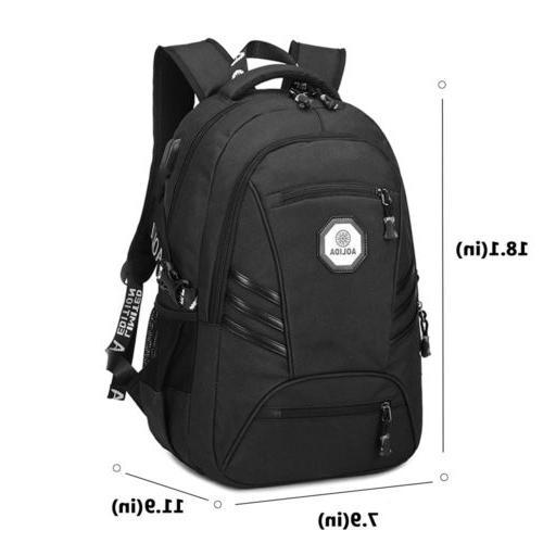 """Men USB Port 17"""" Bags Travel Backpack School Bookbag"""