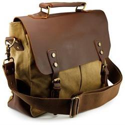 men vintage canvas leather satchel