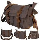 Men's Vintage Canvas Leather School Military Shoulder Messen