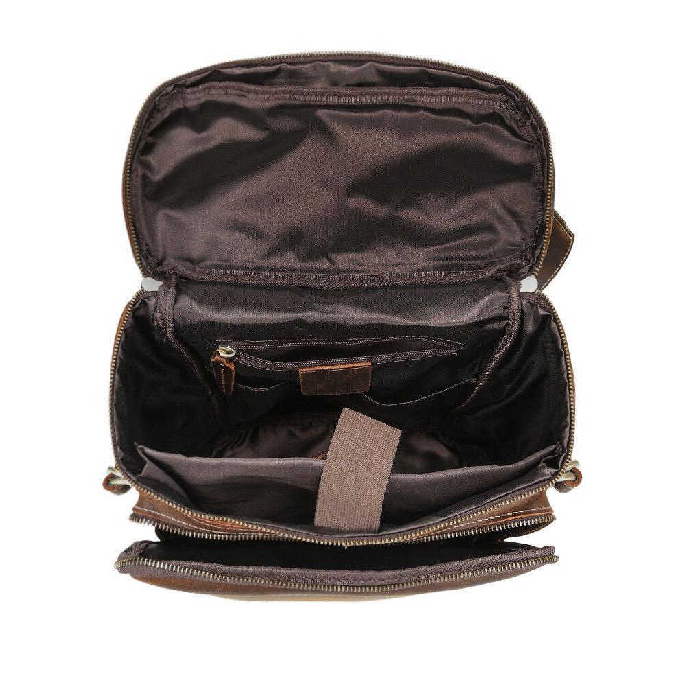 """Men Leather Backpack 15"""" Laptop Hiking Bag Rucksack"""