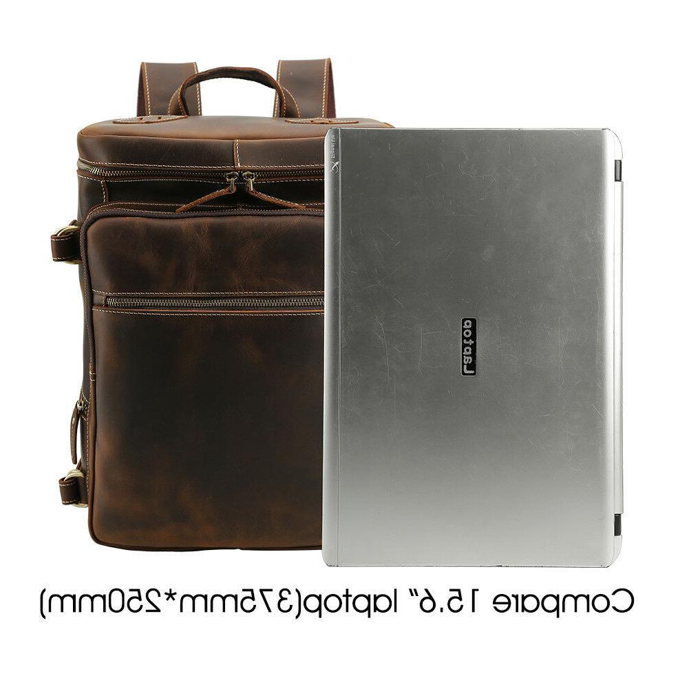"""Men Vintage Backpack 15"""" Laptop Bag Daypack"""