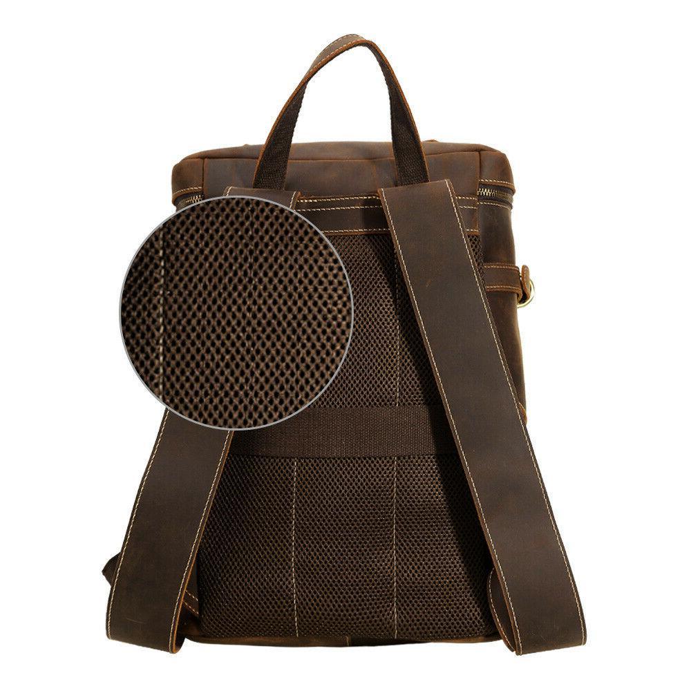 """Men Vintage Backpack 15"""" Laptop Hiking Bag Rucksack"""