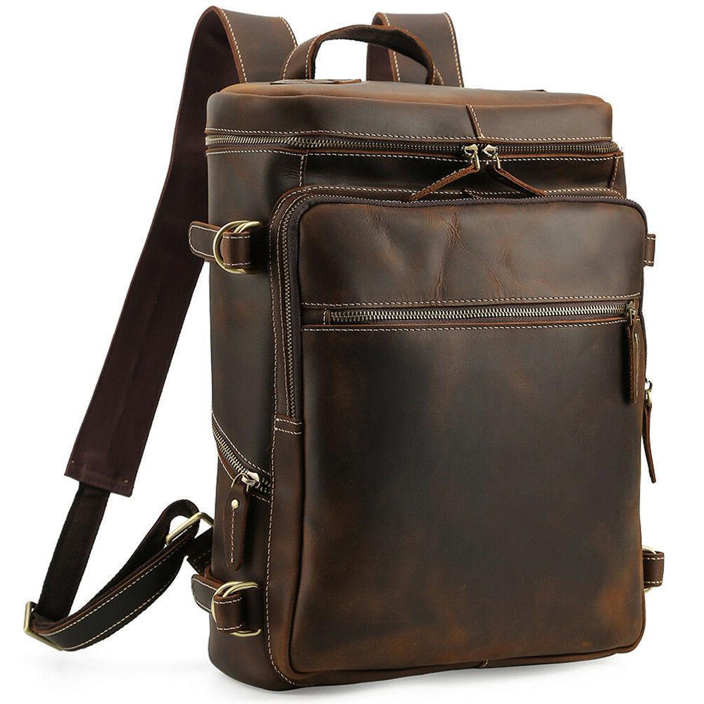men vintage leather backpack 15 laptop hiking