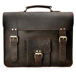 ZLYC Men Vintage Retro HANDMADE Leather Business Briefcase 1