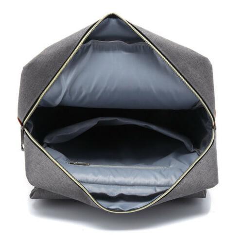 """Men Women 16"""" Canvas Leather Backpack Rucksack Satchel Bag"""