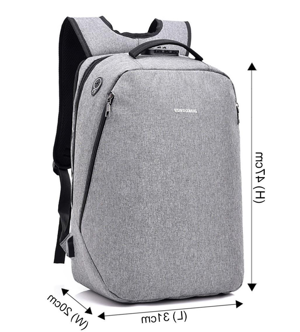 Men Anti-Theft Backpack USB Bookbag School