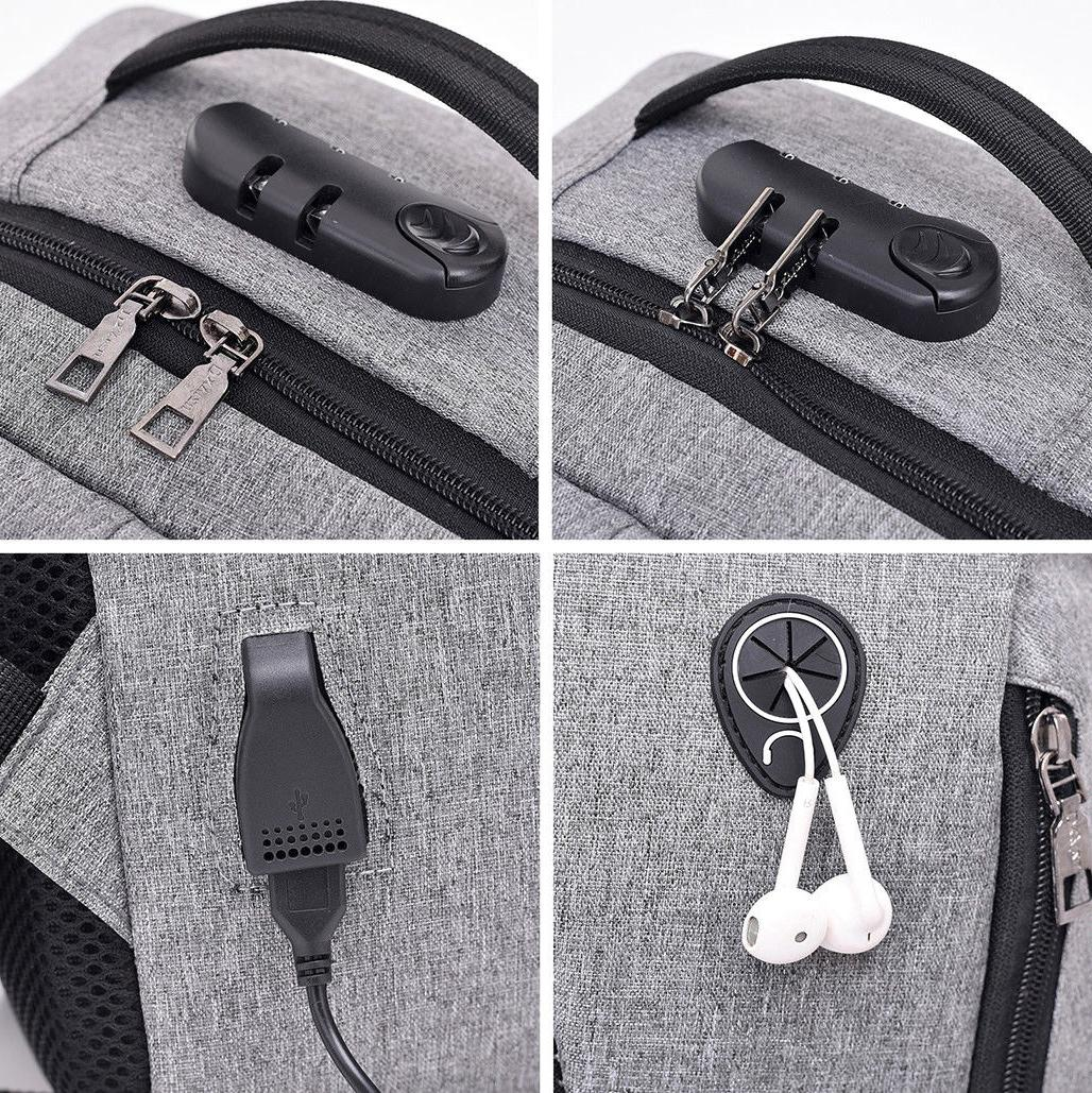 Men Anti-Theft Travel Backpack Port Bookbag Laptop School Bag