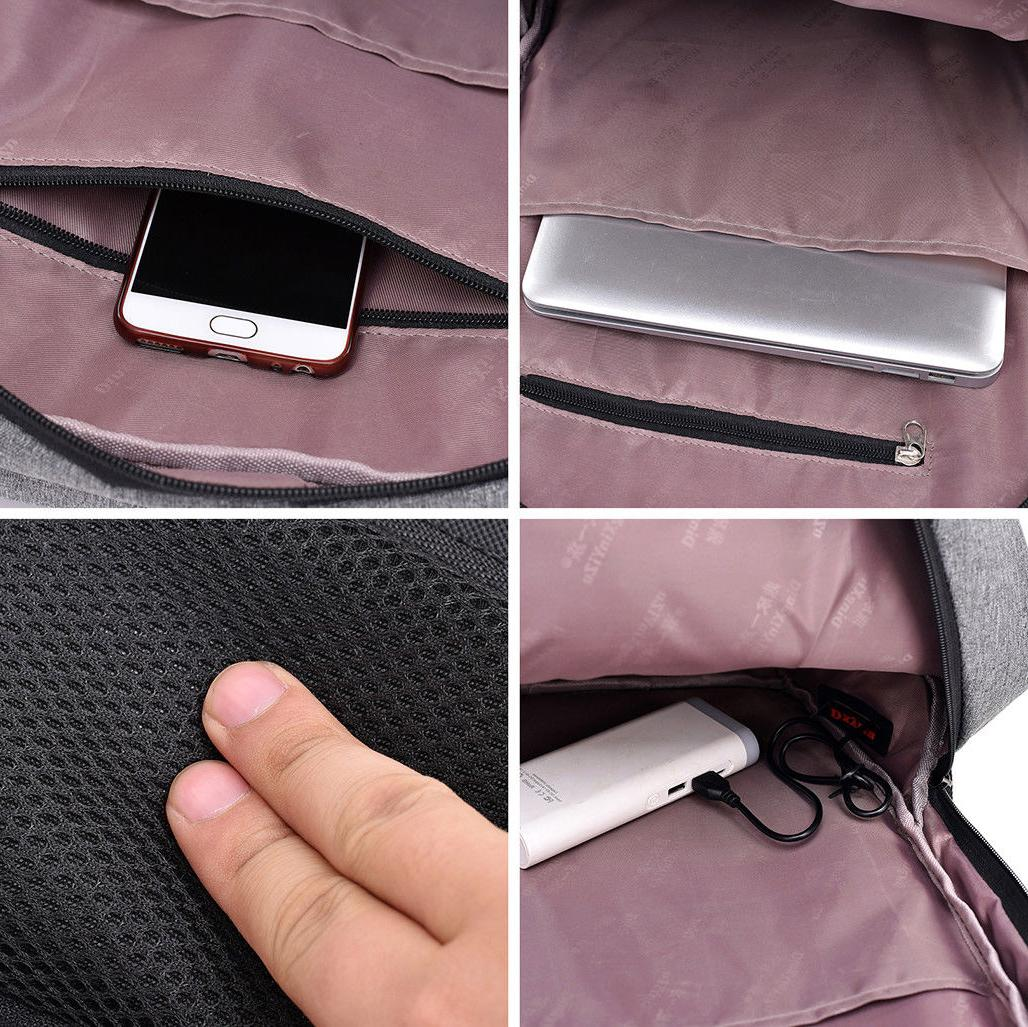 Men Backpack USB Bookbag Laptop