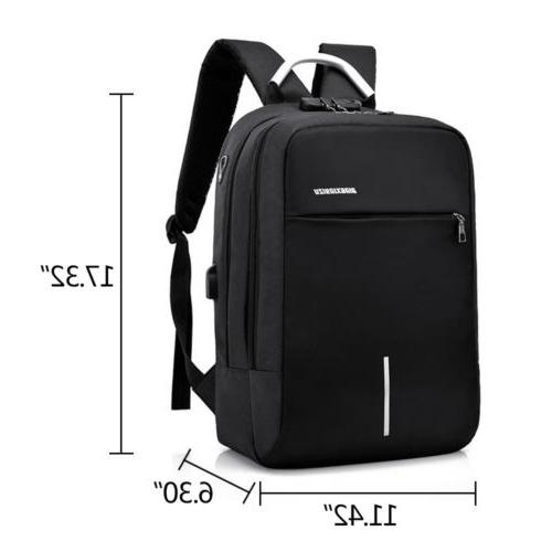 "Men Women Backpack 15"" Laptop USB Carry-on Travel Shoulder"
