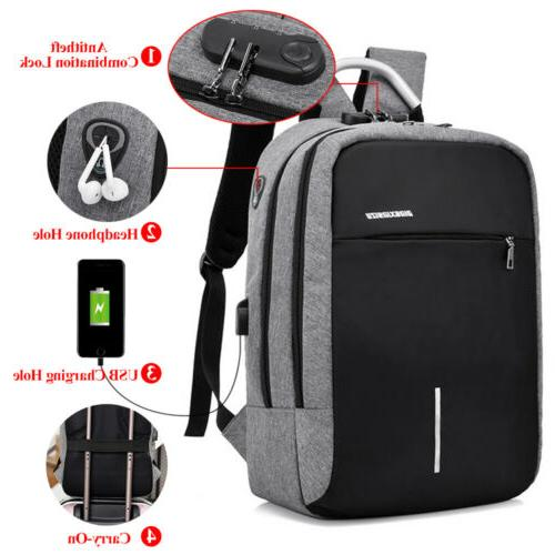 men women backpack laptop usb lock antitheft