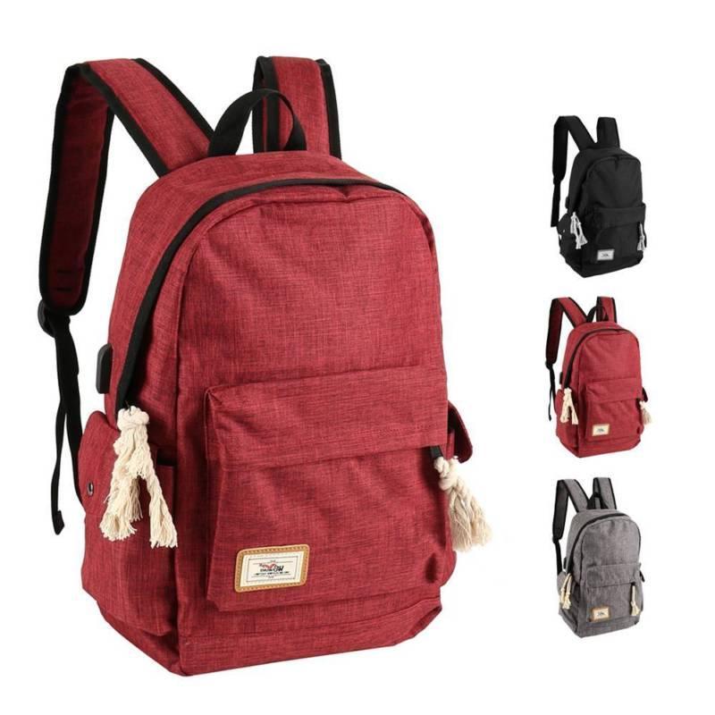 men women shoulder canvas rucksack backpack school