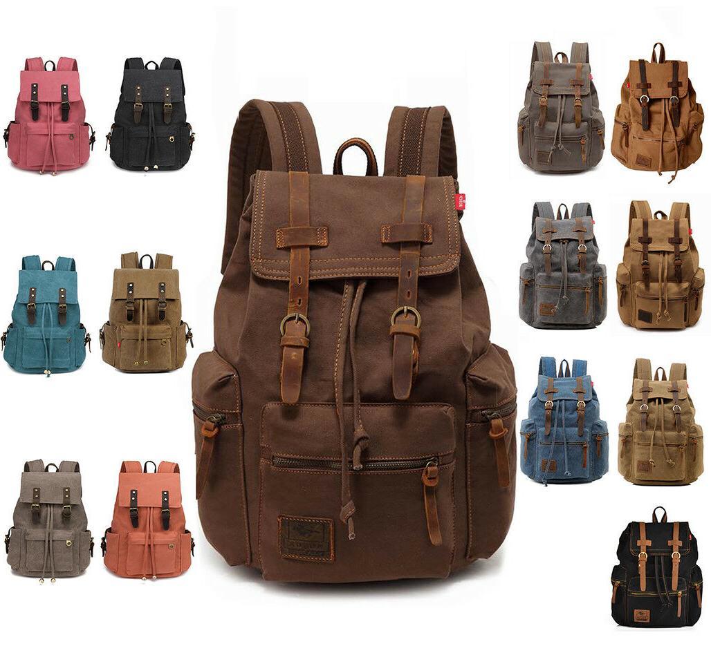 men women travel canvas backpack rucksack camping