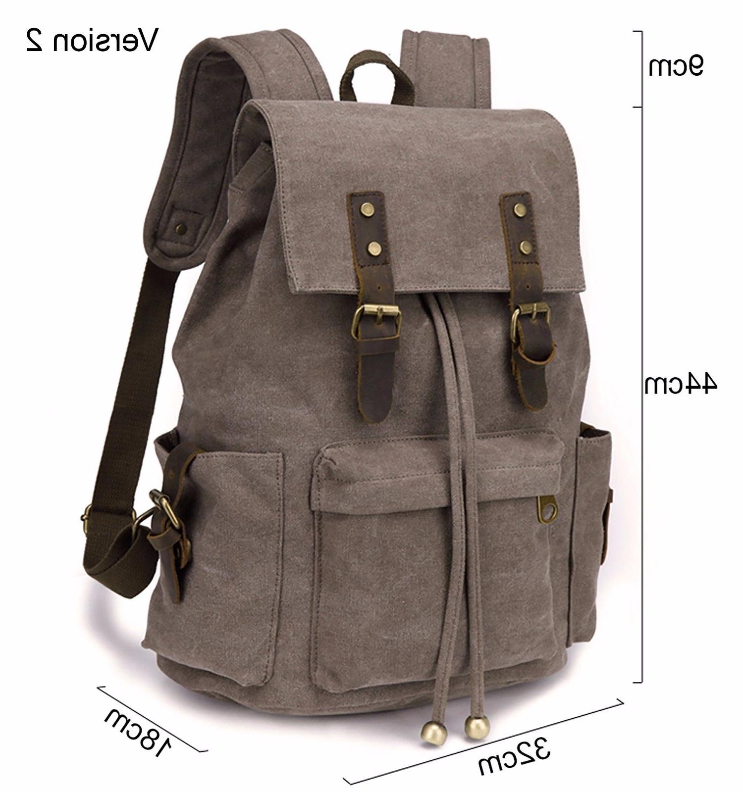 Men Women Travel Canvas Backpack Rucksack Camping